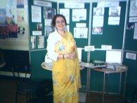 Angela Kenrick in a sari