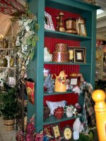 Old bookcase in a flower shop