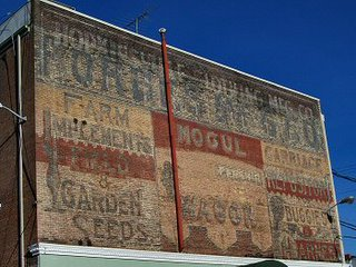 Ghost paintings on an old building in Hopkinsville, KY