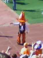 Pistol Pete waves to the fight song after a touchdown against KU