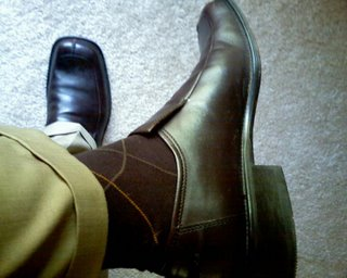 Brown socks and brown loafers