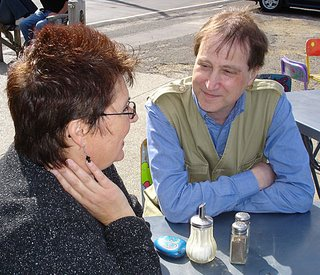 Mark and Marica having a chat while waiting for a coffee at the Chocolate Fish Cafe in Scorching Bay, Wellington