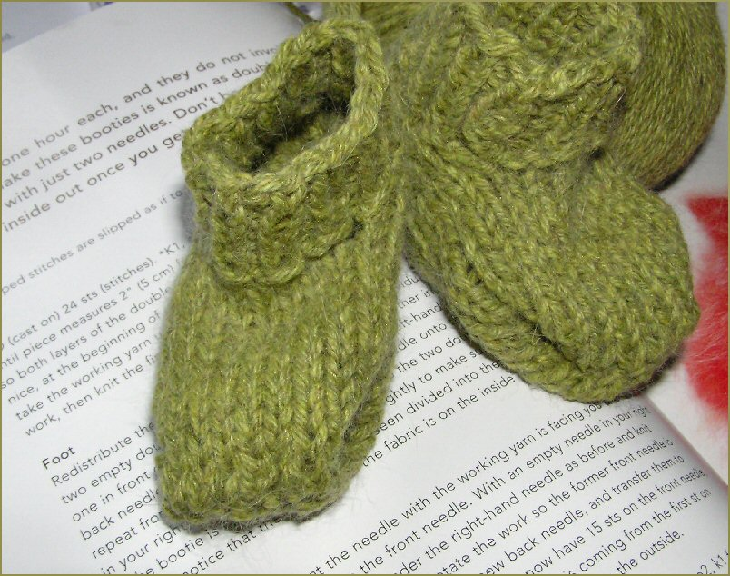 Knitting In The Round : Knitted baby booties in the round