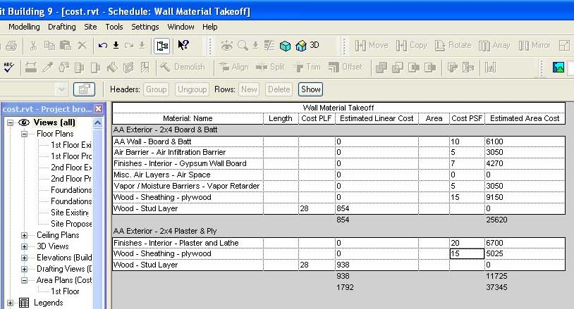 Building Material Cost Calculator Revit Beginners Cost