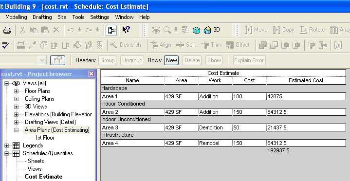 Revit Beginners Cost Estimating