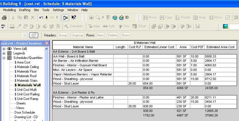 Revit beginners cost estimating for Home materials cost estimator