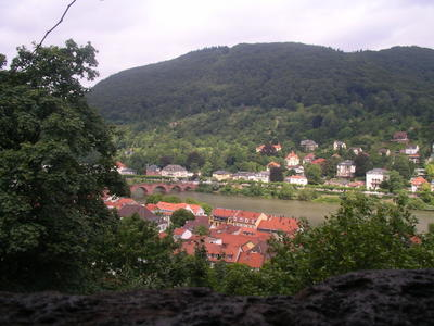 Heidelberg through one of the windows in the castle walls