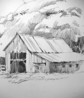 travel sketchbook pencil drawing of the Gifford farm in Capitol Reef National Park