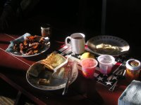 The traditional cabin breakfast at the Rockin R