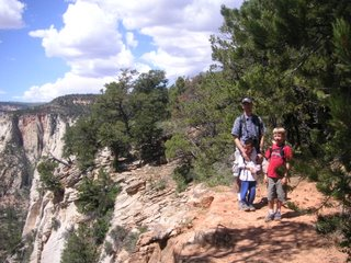 Jim Lee, Kayson, and Christian on the East Rim Trail in Zion