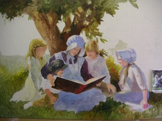 Step 5 oil painting of mural for Washington County Library