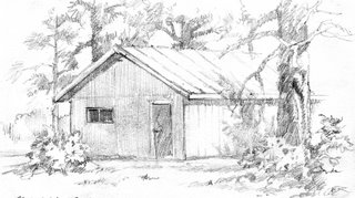 Roland Lee sketchbook drwing of our cabin