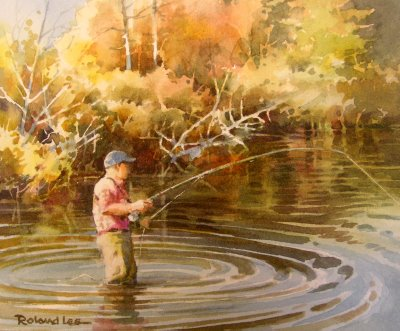 The Fisherman, painting of fly fishing by Roland Lee
