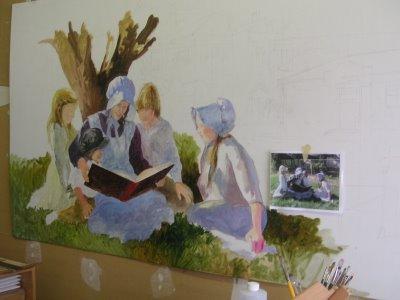 Roland Lee painting library mural step by step