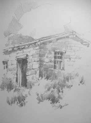Sketchbook drawing of Old homestead at Pipe Spring national Monument