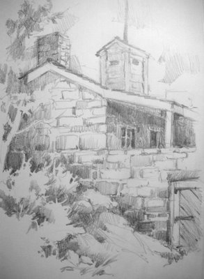 Sketchbook drawing of Winsor Castle at Pipe Spring national Historic Site