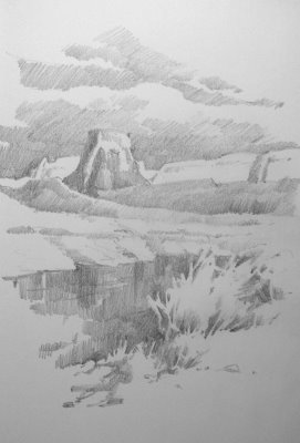 Sketchbook drawing of Lake Powell Gunsight Butte