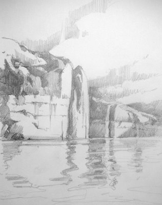 Sketchbook value study for the classroom painting of Lake Powell