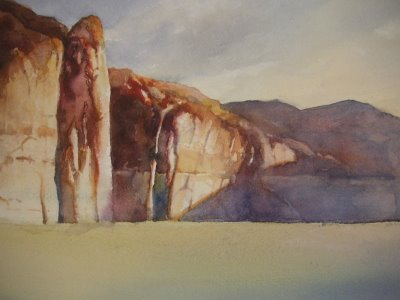 Roland Lee step by step watercolor painting of lake Powell