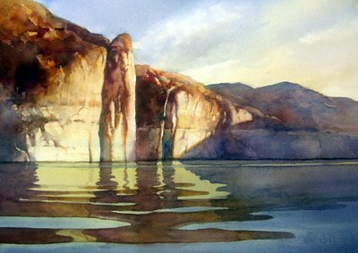 Roland Lee watercolor painting of Lake Powell