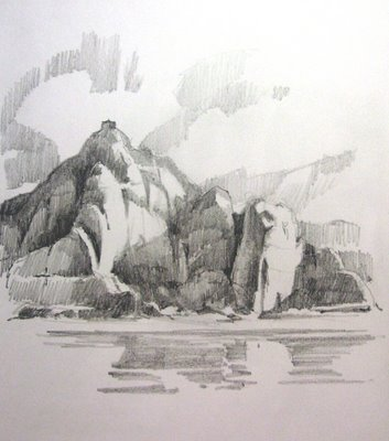 Roland lee sketchbook drawing of Castle Rock at Lake Powell