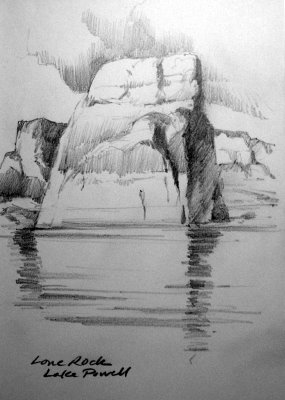 Roland Lee sketchbook drawing of Lake Powell