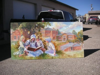 Roland Lee oil painting mural for the St. George Library