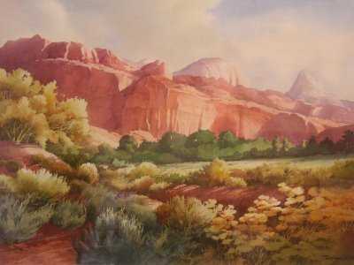 Watercolor Painting of Capitol Reef National Park by Roland Lee