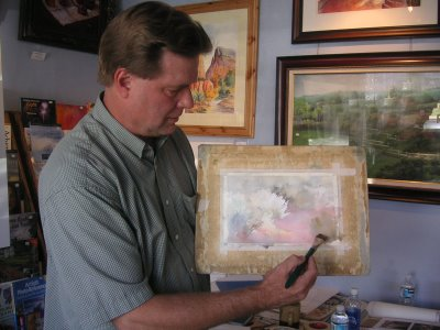 Roland Lee demonstrating the painting of Sage in the Sunlight at September 2006 watercolor workshop