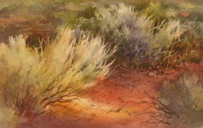 Demonstration watercolor painting of Sage in the Sunlight