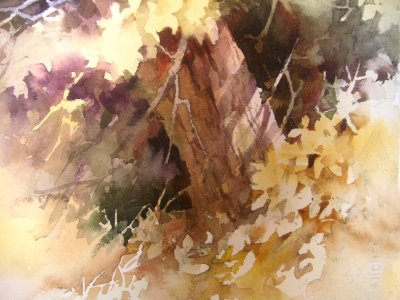 Roland Lee Watercolor painting of tree in the sunlight