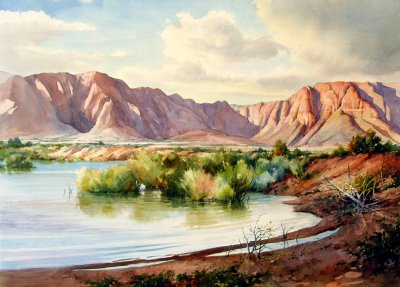 Merit award Utah Watercolor Society, Watercolor painting by Roland Lee