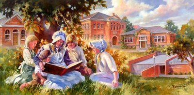 Roland Lee Library Mural Painting of Story time at the library 1864 to 2006