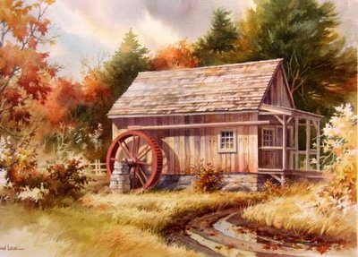 Watercolor Painting of Vermont, Little Mill House by Roland Lee