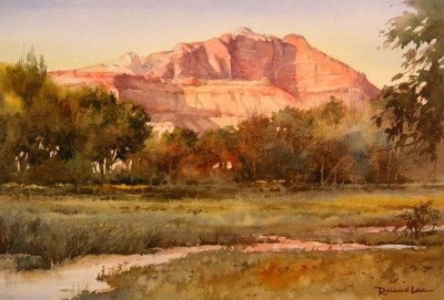Painting of Mount Kinesava viewed from Grafton Ghost Town near Rockville Utah