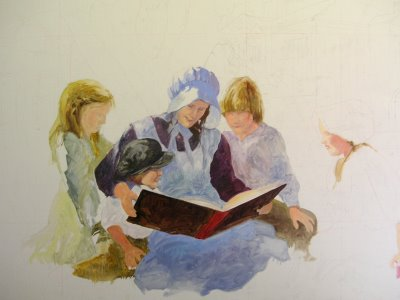 Step 4 oil painting of mural for Washington County Library