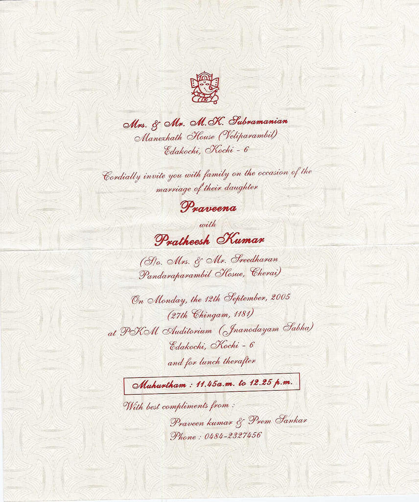 Wedding Invitation Letter Format Kerala. Monday  August 29 2005 Invitations