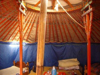 Interior de uma tenda