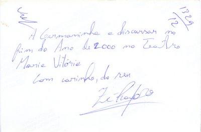 Dedicatória de José Raposo.
