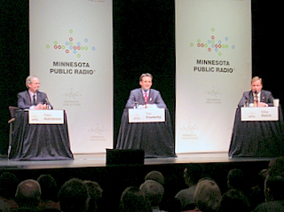 Peter Hutchinson, Tim Pawlenty, and Mike Hatch at the MPR debate. (c) North Star Liberty.