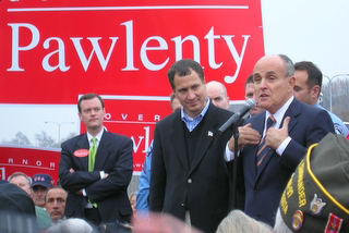 Jeff Johnson, Mark Kennedy, Rudolph Giuliani at the rally. (c) North Star Liberty.