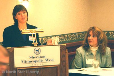 Terri Bonoff and Judy Johnson at the TwinWest forum. (Photo: North Star Liberty)