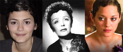 Audrey Tautou, Edith Piaf y Marion Cotillard.