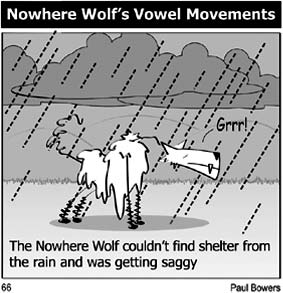 The Nowhere Wolf - Vowel Movements - a humorous, daily, joke cartoon available online