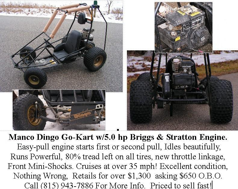 Things I Have For Sale: SOLD! - Manco Dingo 5HP Go-Kart