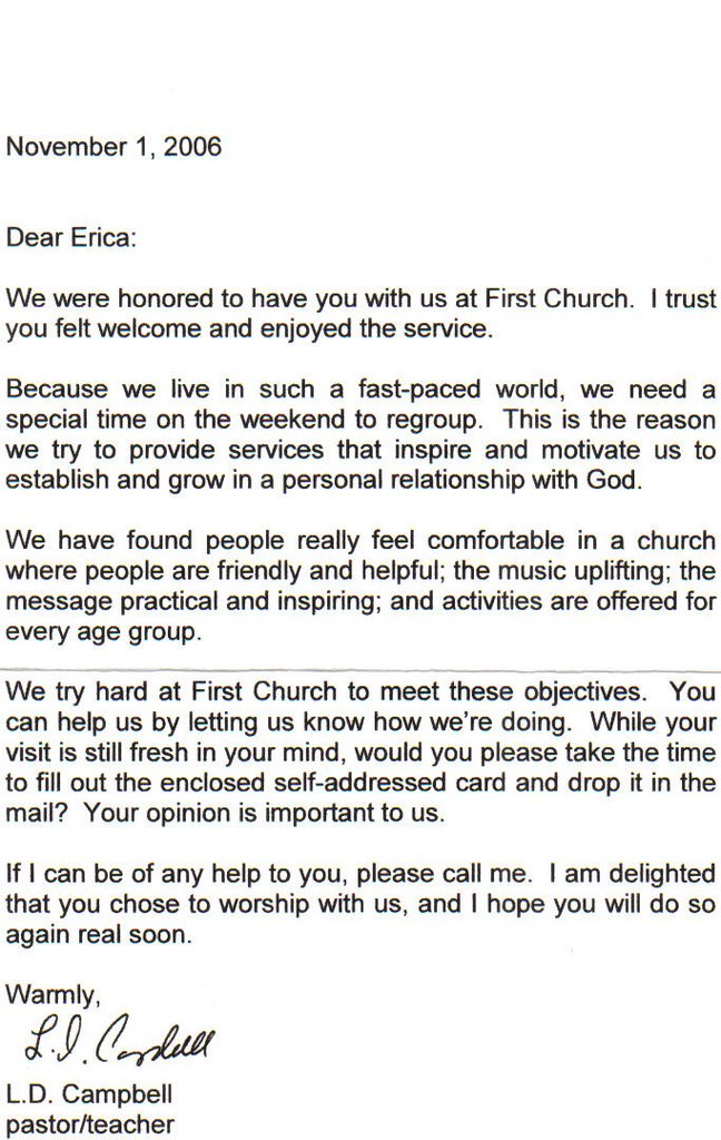 we received thank you letters from first church youre welcome to read it let me know if you need me to transcribe its a form letter which is why im