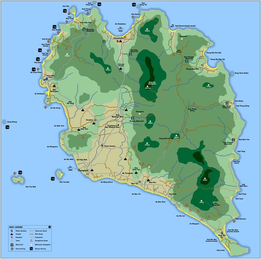 Koh Phangan Thailand Map Koh Phangan