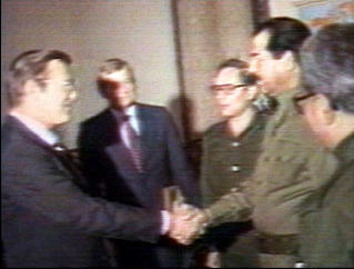 Old friends Saddam Hussein and Donald Rumsfeld