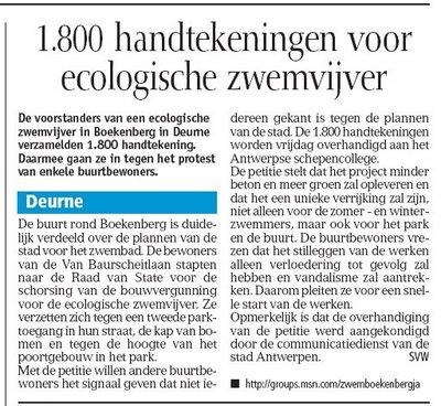 1.800 handtekeningen voor ecologische zwemvijver, GVA 01-06-2006