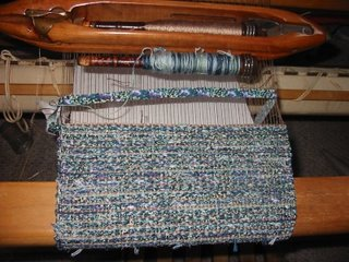 Weaving made from thrums, fabric strips, and rayon yarn